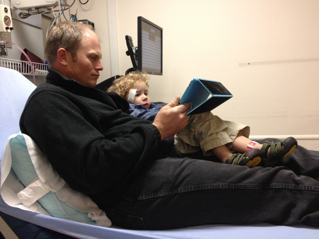 Toddler in ER waiting for stitches