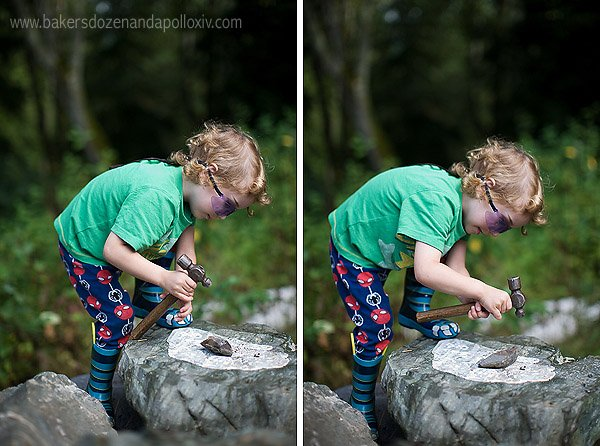 Preschooler, Apollo, is fully occupied in his task of hammering rocks. Kids want real work with real tools, not plastic toys.