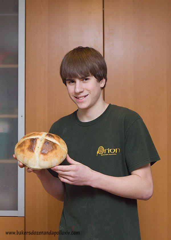 baked potato soup, sourdough bread, teen boy baking