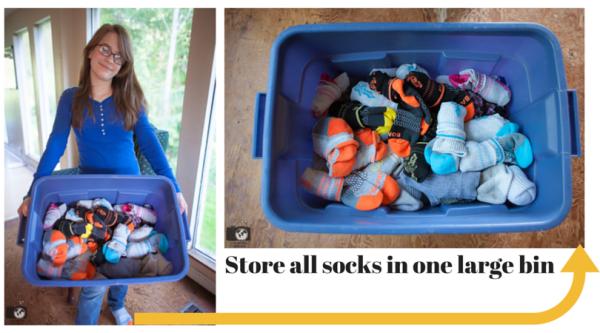 Store socks in one large bin