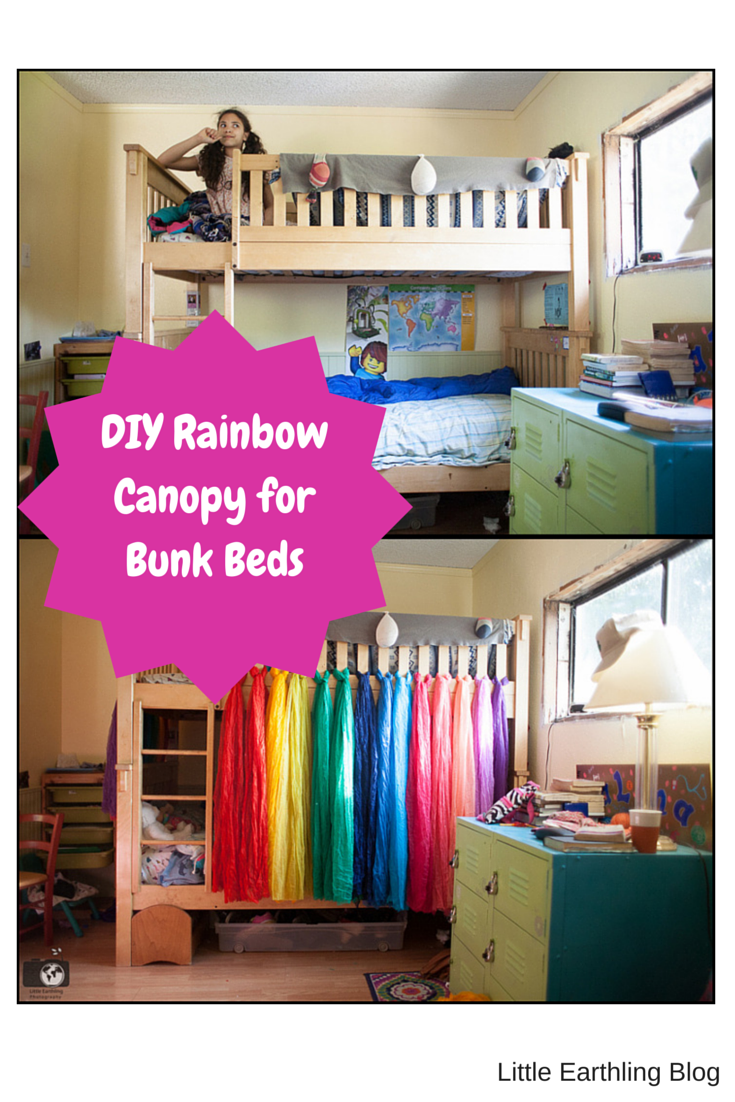 This awesome DIY rainbow canopy is quick and easy! & DIY Rainbow Bed Canopy for Bunk Beds