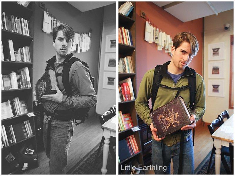 Teen boy in village books