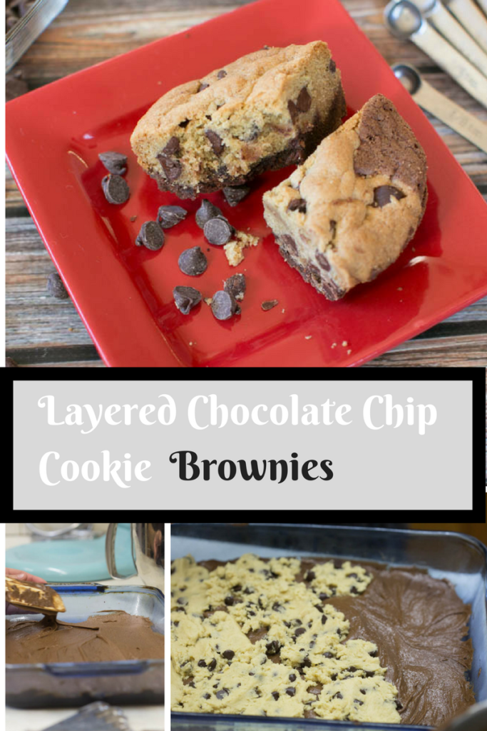 These layered chocolate chip cookie brownies will have you coming back for seconds. And thirds.