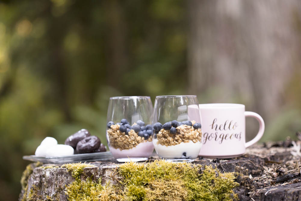 Yogurt parfaits are the perfect breakfast after a night of glamping.
