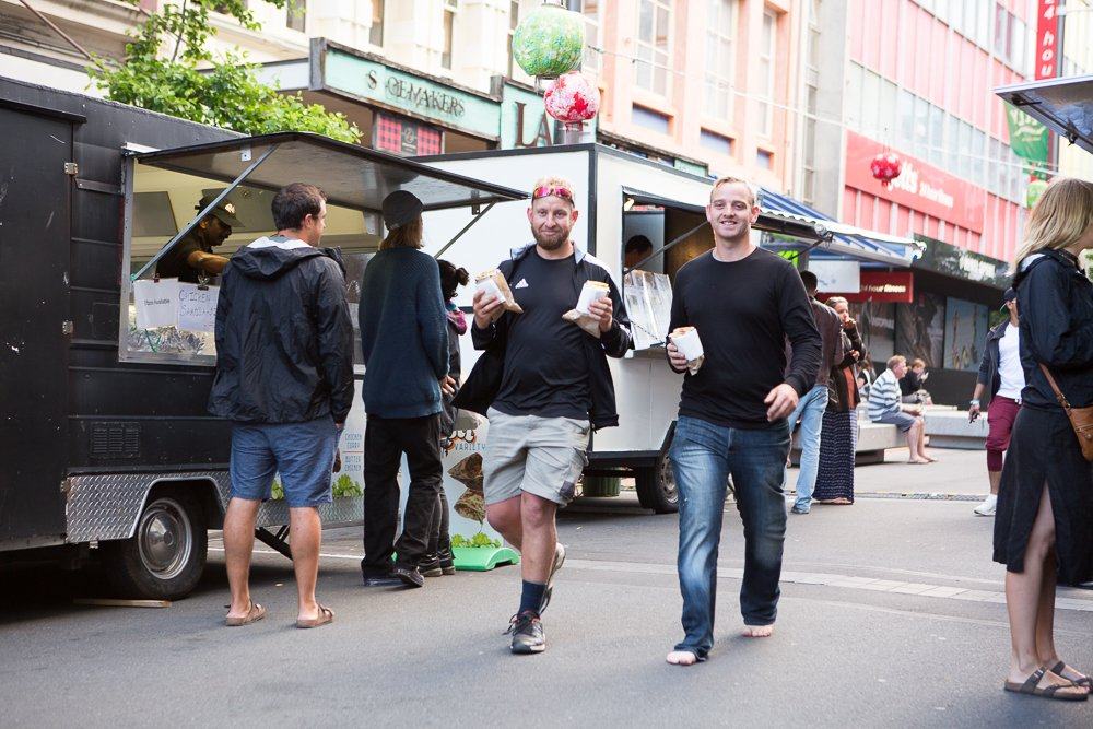 Ben and Jason getting food at the Wellington Night Markets.