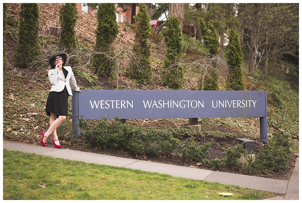 Esme Squalor posing at Western Washington University.