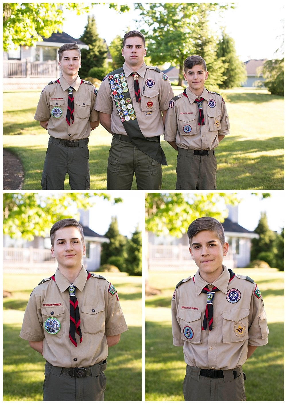 Three Boy Scouts at Enoch's Eagle Scout ceremony.