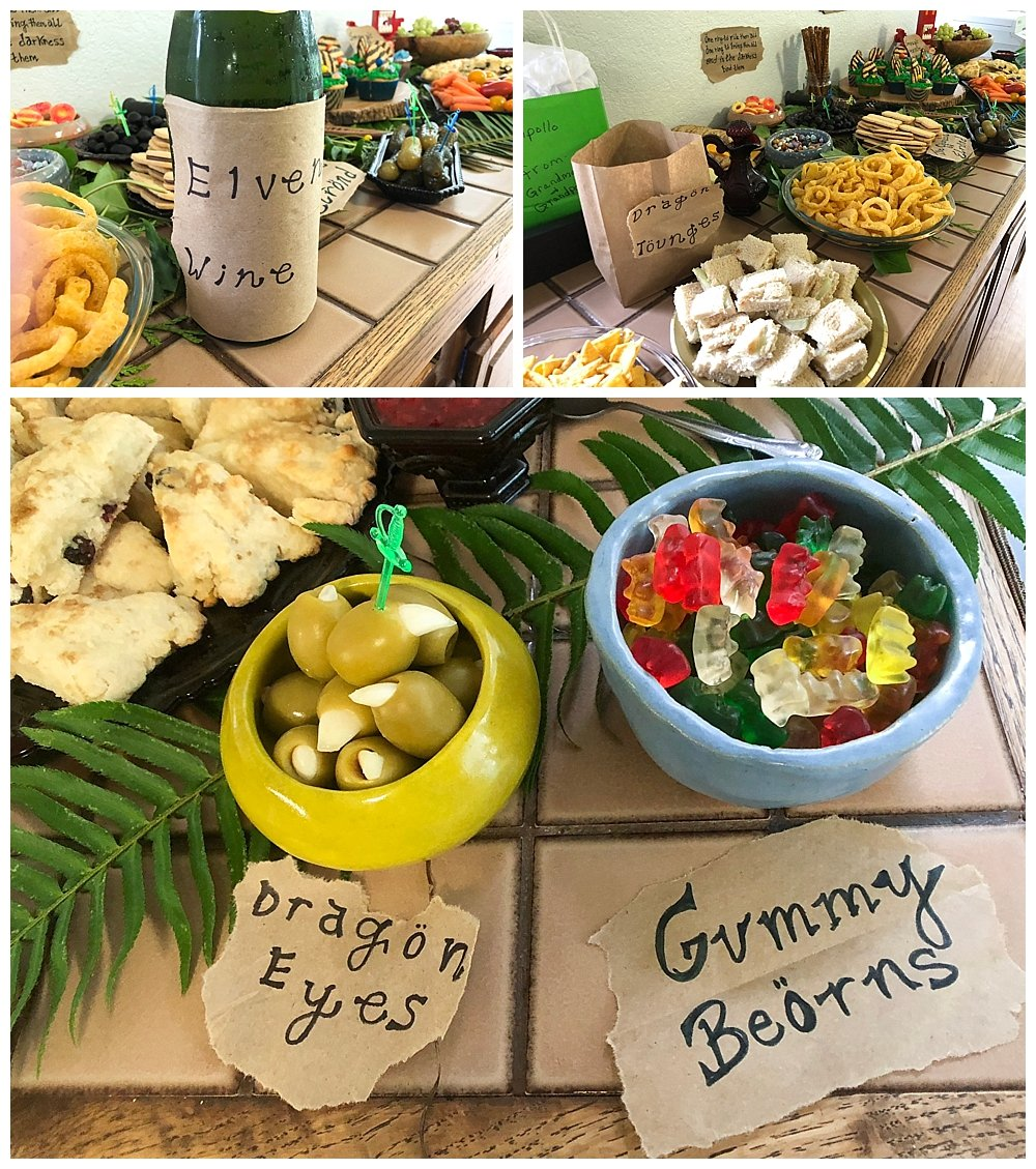 Awesome themed foods for our Hobbit Party.