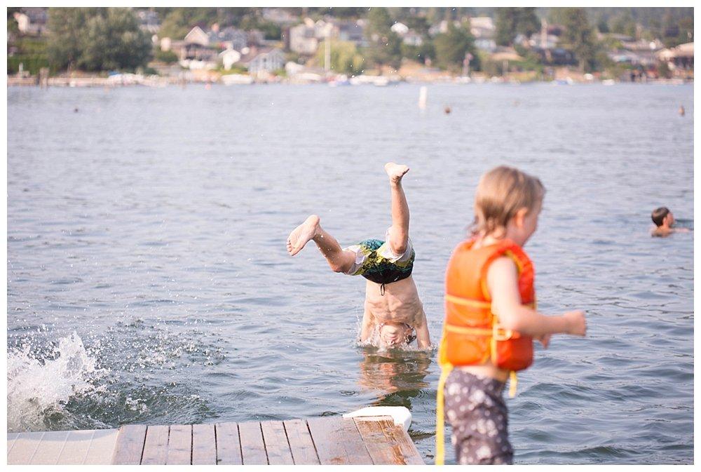 Tucker diving into Lake Whatcom.
