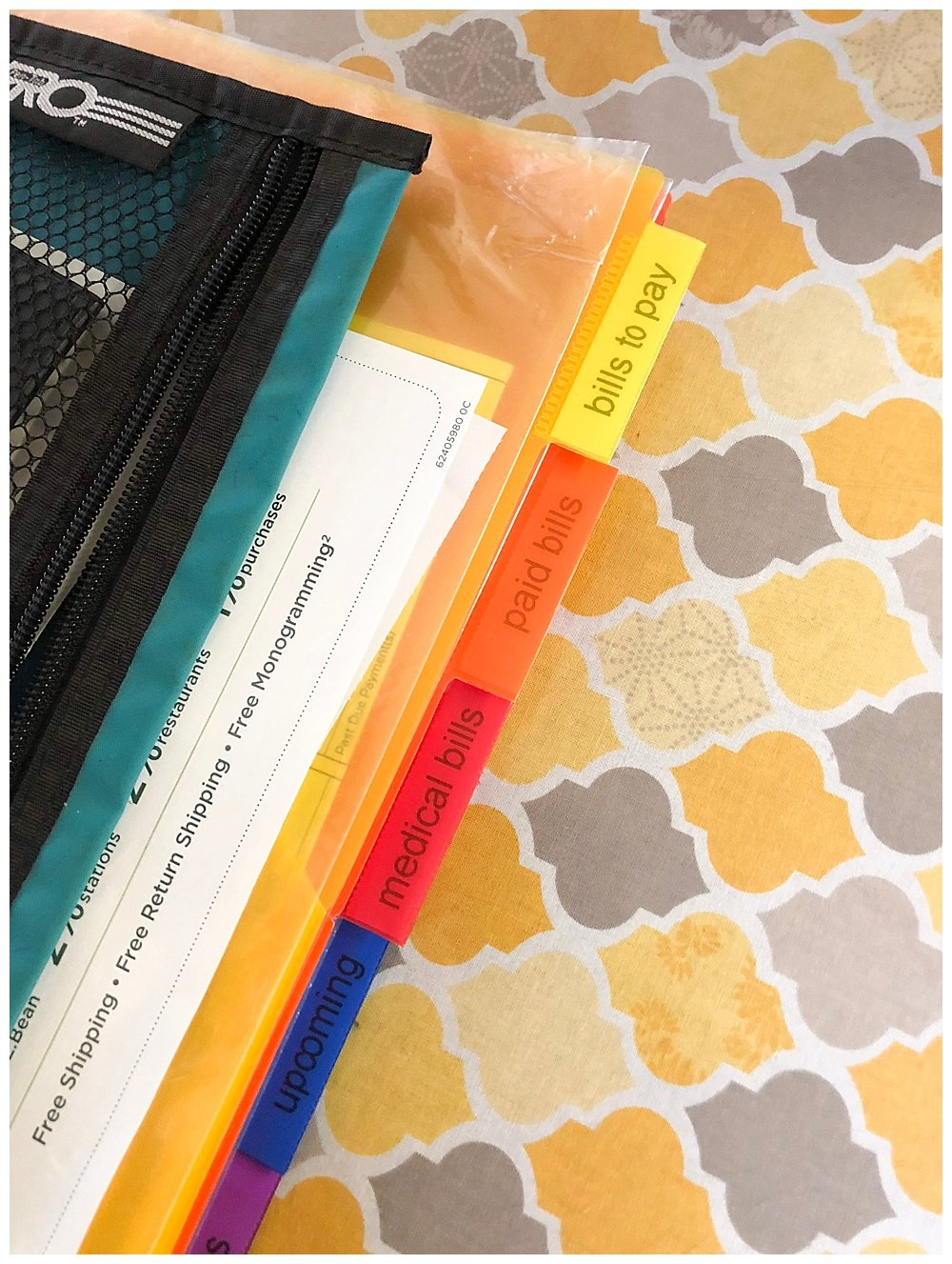 Large family budget hacks how to use a binder to keep track of bills.
