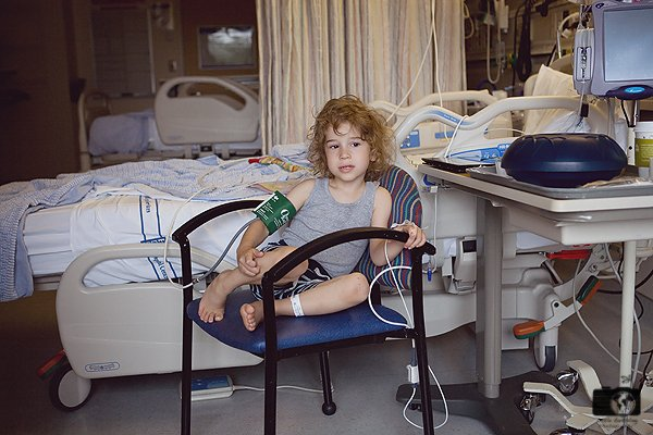 Apollo at Seattle Children's Hospital after having his tonsils removed.