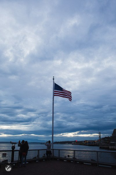 American flag by waterfront in Seatle