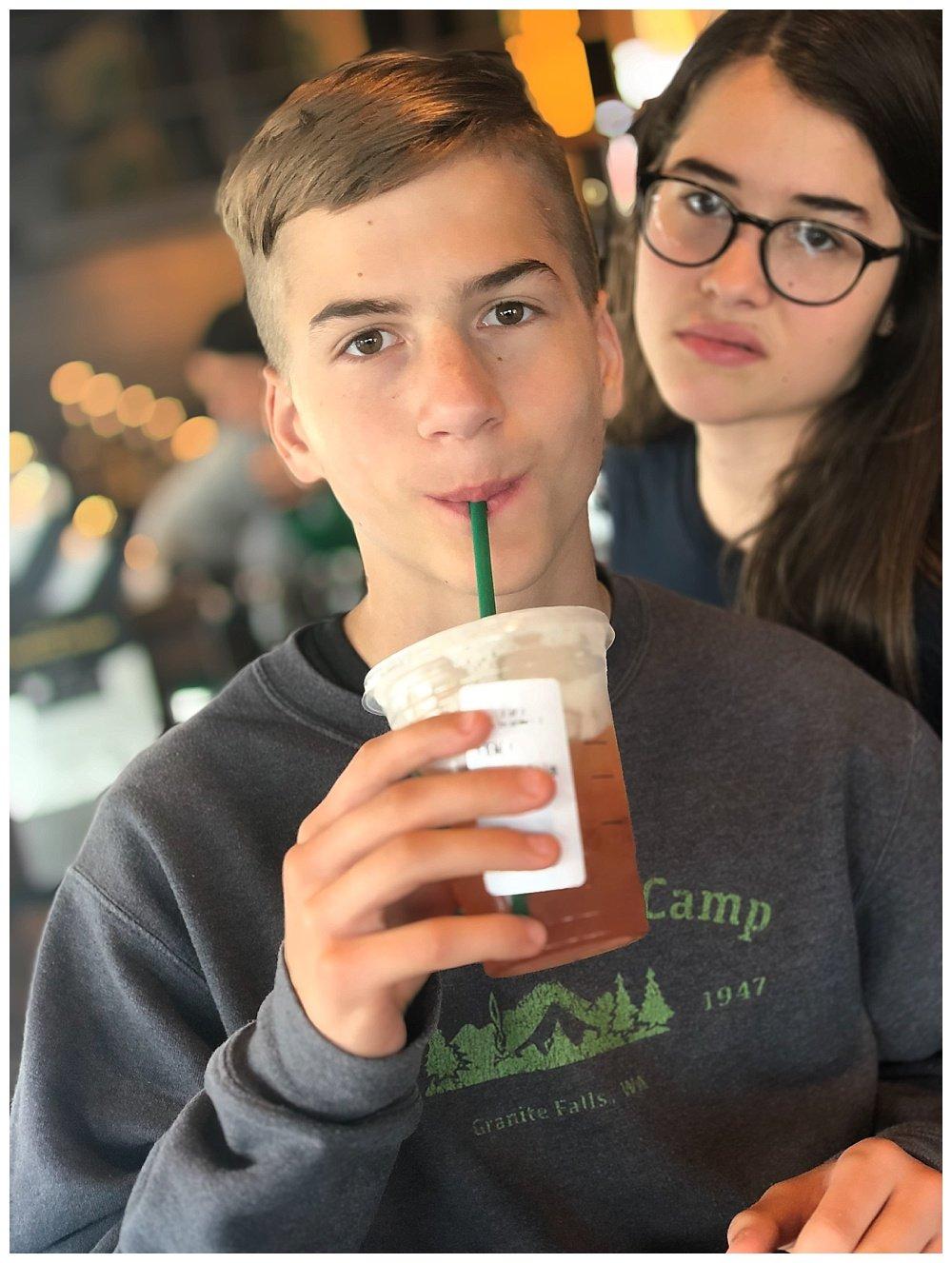 Hezekiah and Jubilee in Starbucks.