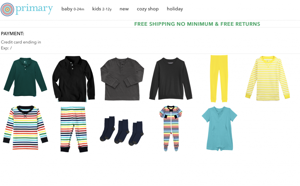 Primary clothing review.