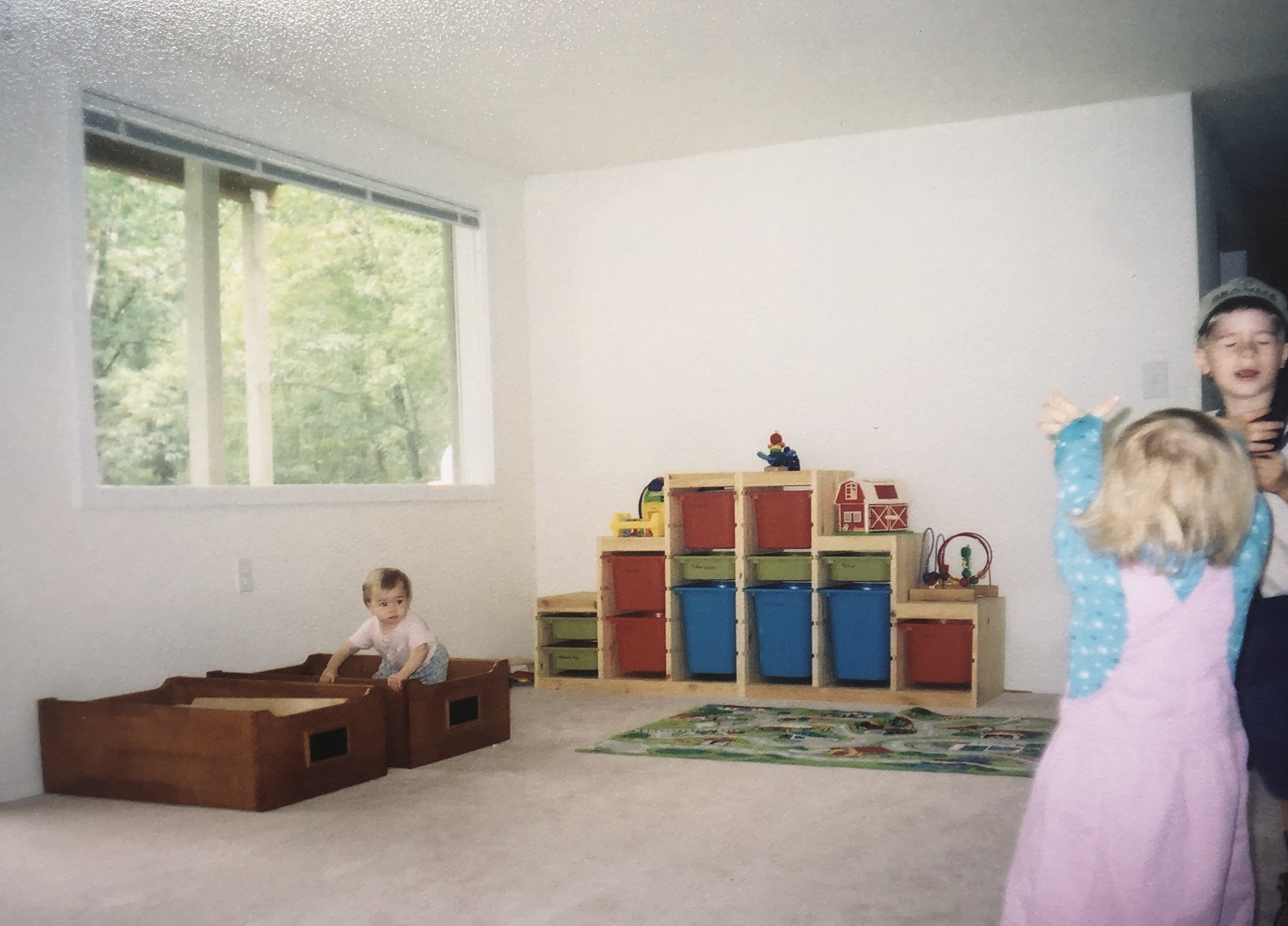 Our playroom in 2003. This was all of our toys for seven kids.