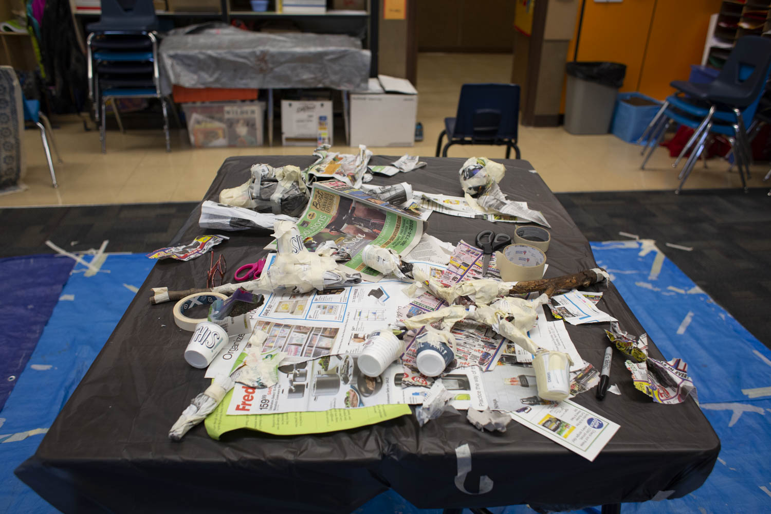 Paper mache puppet making with third graders.