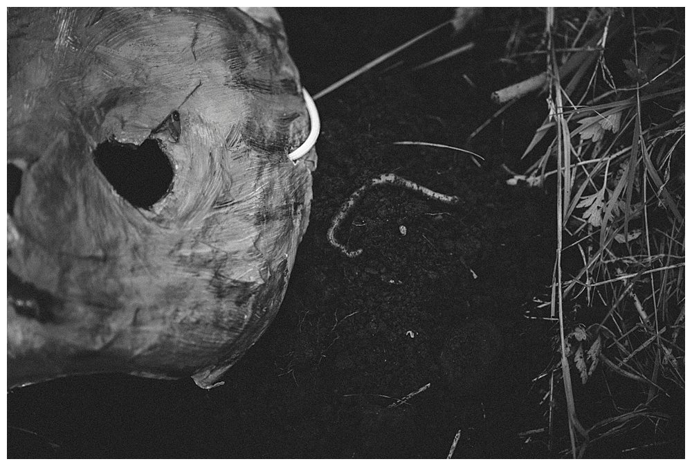 Paper mache mask and worm in Pet Sematary.