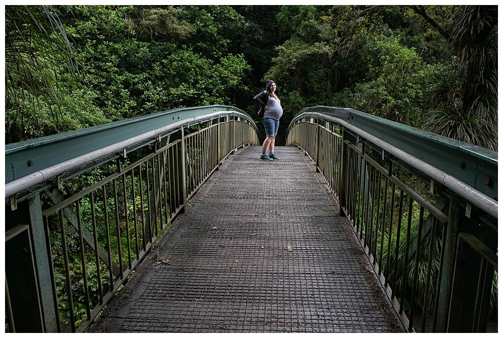 Tilly on bridge at Whangarei Falls.